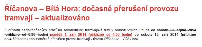 Informace DPP na webu.