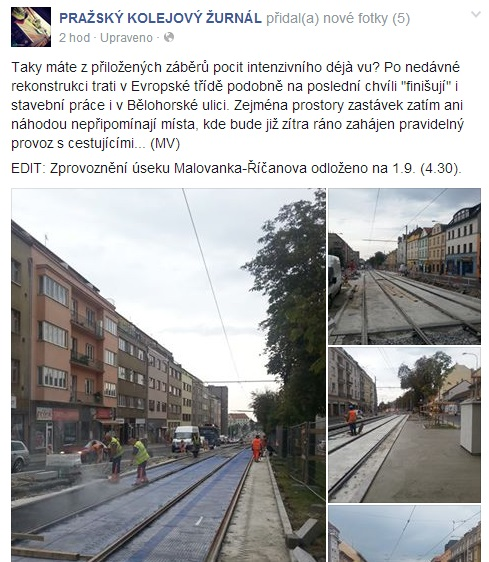O pomalé rekonstrukci se píše i na Facebooku.