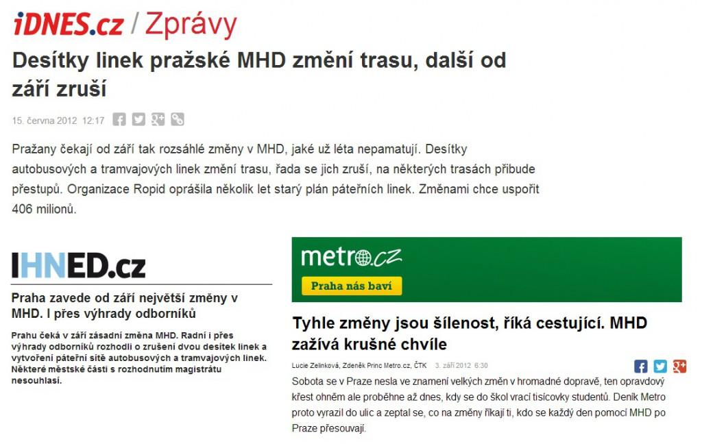 Co psal tisk ke změnám v MHD v září 2012, kdy byly zrušeny např. linky 149 a 217.