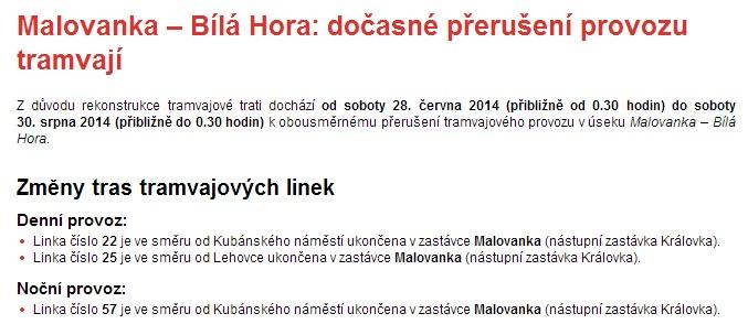 Avizovaná výluka na webu DPP