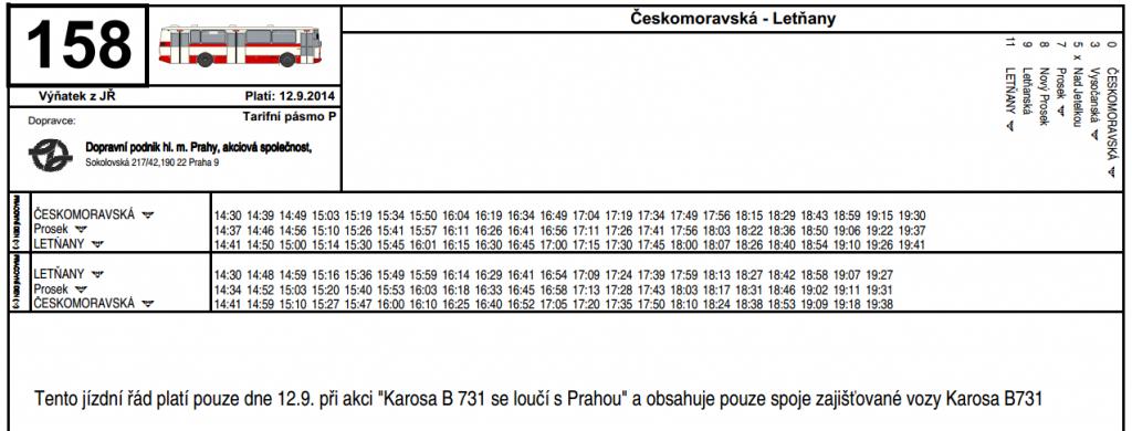 Jízdní řád speciálních spojů linky 158 s autobusy Karosa B731