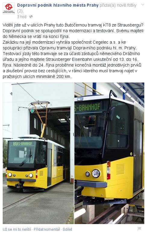 DPP informoval na svém Facebooku, že zrekonstruovaná tramvaj KT8N pro Strausberg vyjede na zkušební jízdy po Praze