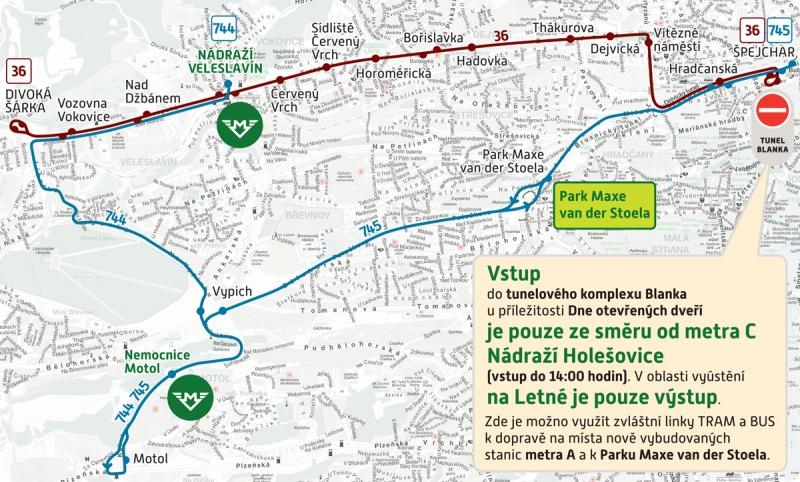 Mapa speciální linek spojující tunel Blanka a metro V.A
