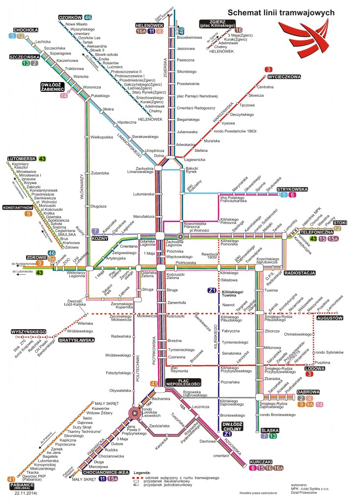 Łódź: Linkové vedení tramvají
