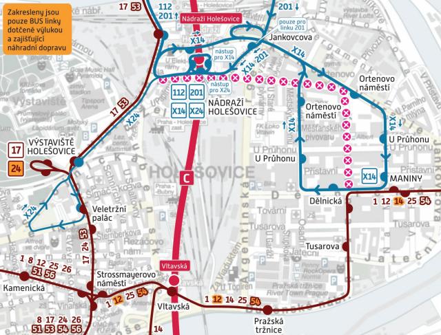 Změny v dopravě spojené s rekonstrukcí tramvajové trati