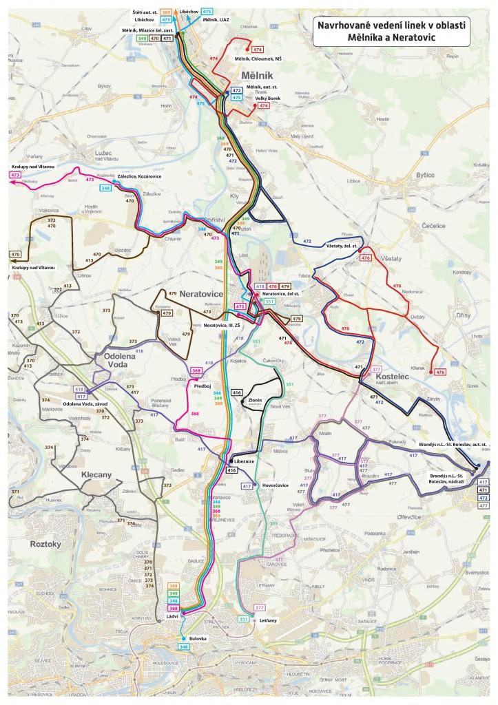 Mapa a linkové vedení PID s integrací Mělnicka  a Neratovicka (od 7. 4. 2015)