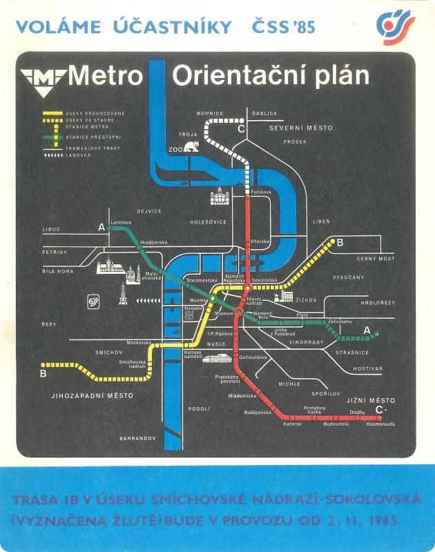 Dobový plánek sítě metra. Archiv DPP.