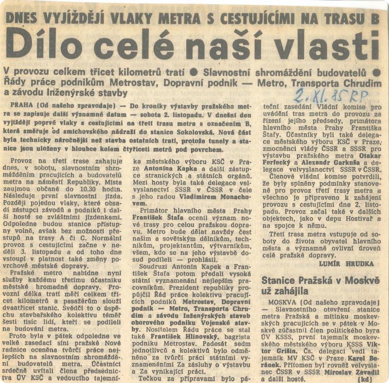 Dobový výstřižek z novin. Archív DPP