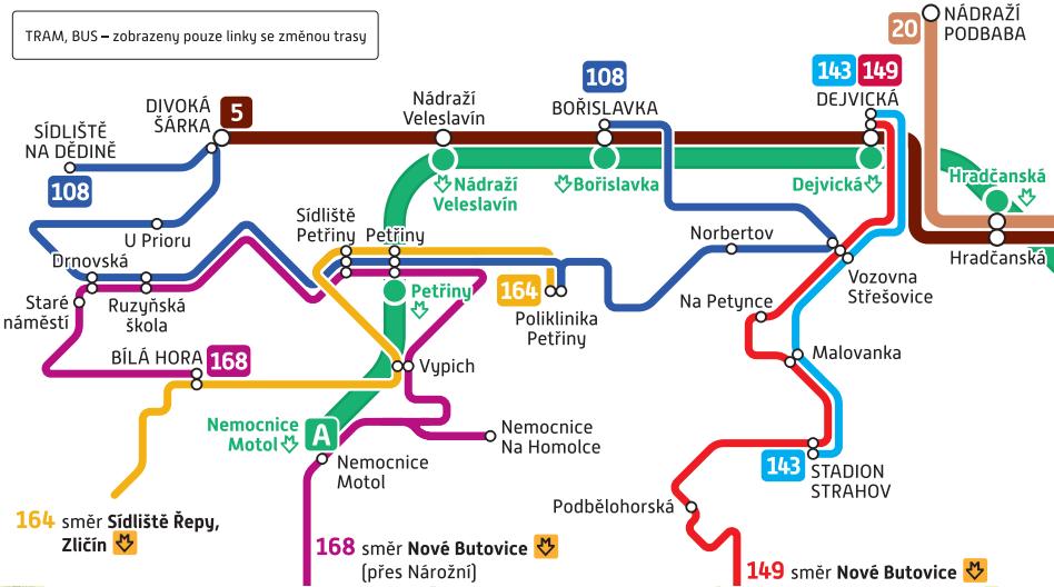 Změněné trasy linek MHD v Praze 6