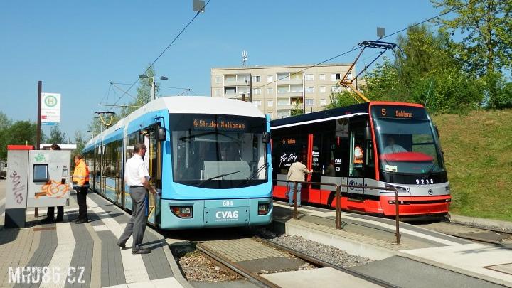 V roce 2012 probíhal v Chemnitzu zkušební provoz pražské tramvaje Škoda ForCity 15T