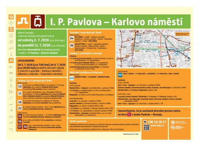 Informační leták k výluce Karlovo náměstí - I. P. Pavlova