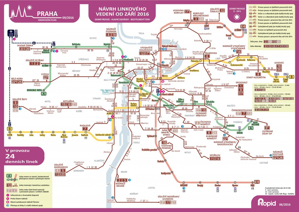 4. návrh Ropid na změny linkového vedení tramvají (tzv. fialová návrh)