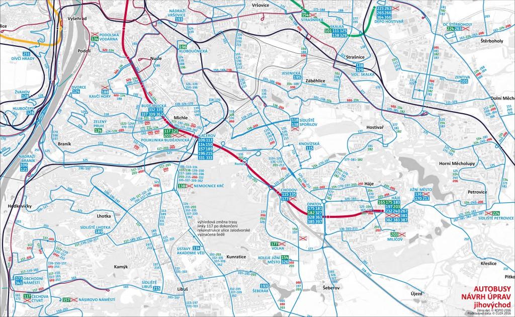 Plánované změny autobusů v jihovýchodní části Prahy (od října 2016)