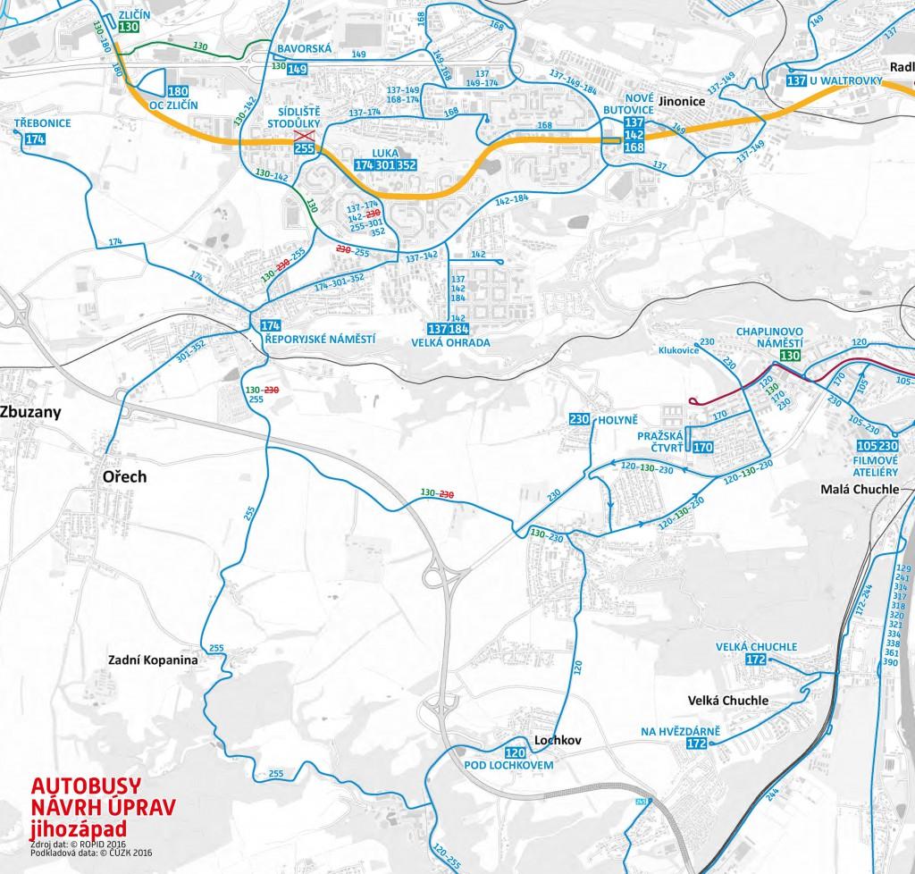 Plánované změny autobusů v jihozápadní části Prahy (od října 2016)