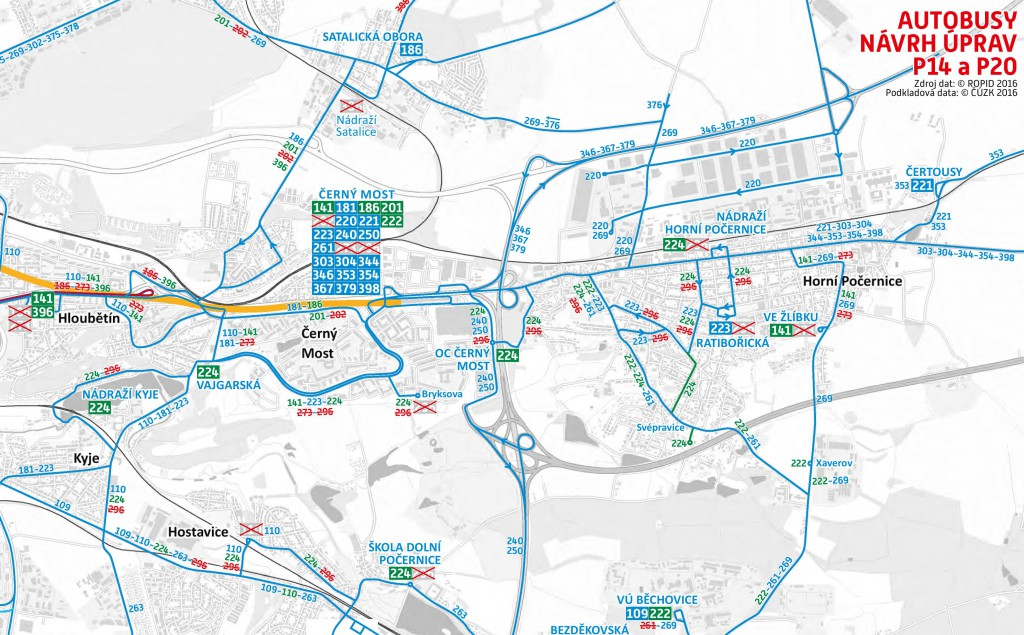 Plánované změny autobusů v oblasti Praha 14 a Praha 20 (od října 2016)