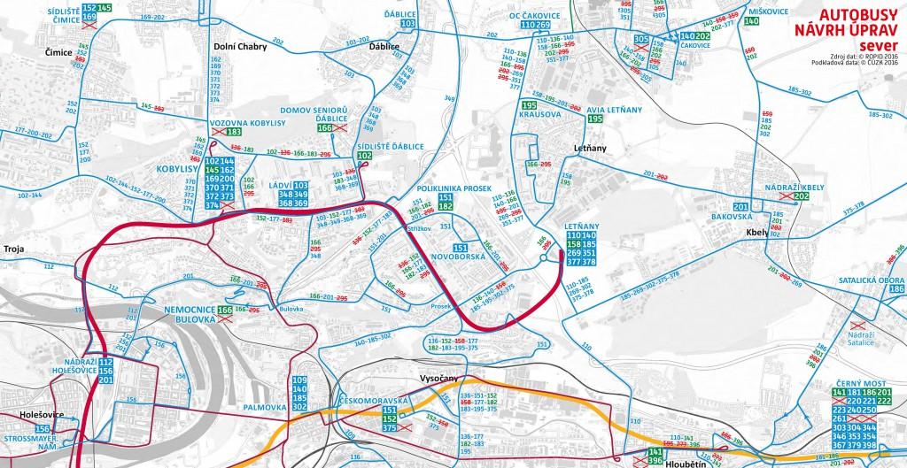 Plánované změny autobusů v severní části Prahy (od října 2016)