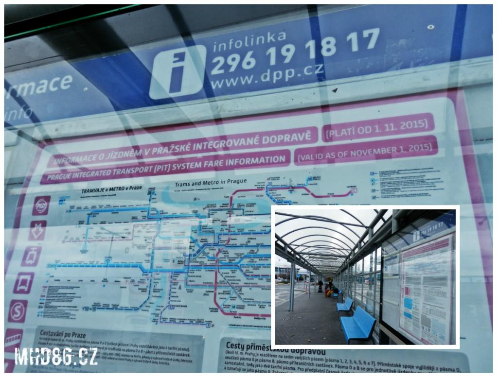 Letištní zastávka MHD Terminál 1 a neplatné linkové vedení MHD. Plánek tramvají se stavem před velkou srpnovou změnou linek. (Foto: 17.11.2016)