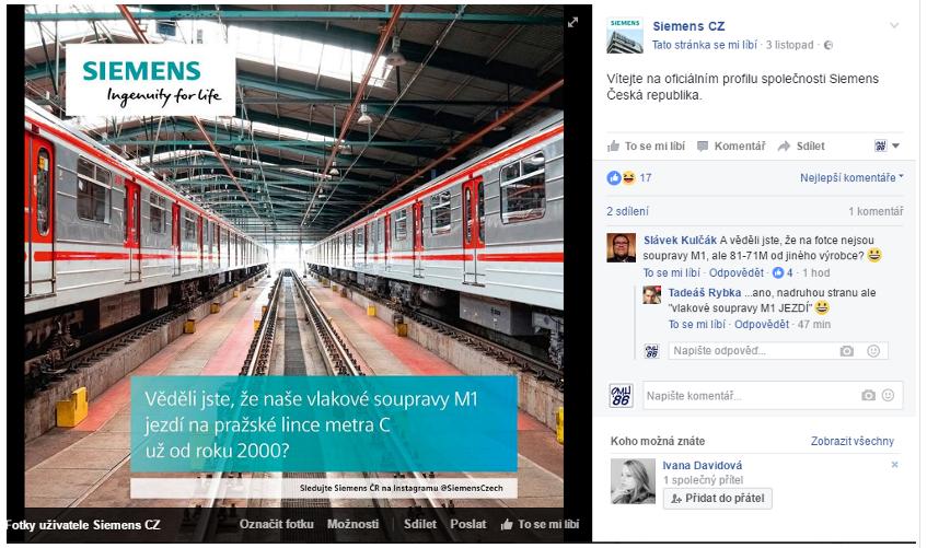 Markeťáci ze Siemensu neznají vlastní výrobky. Soupravy zmodernizované plzeňskou Škodou považují za své.